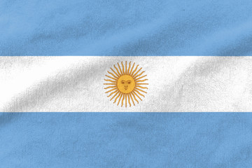 Photo sur Aluminium Amérique du Sud Fabric weave texture national flag of Argentina.
