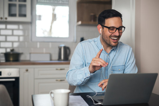 Man having video call from home
