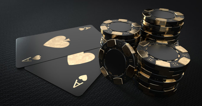 Casino Chips And Aces, Modern Black And Golden Isolated On The Black Background. Place For Logo Or Text - 3D Illustration