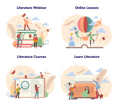 Literature school subject set. Idea of education and knowledge.