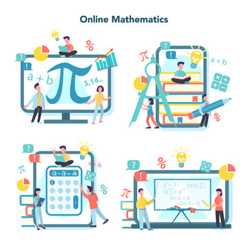 Online math course set. Learning mathematics in internet,