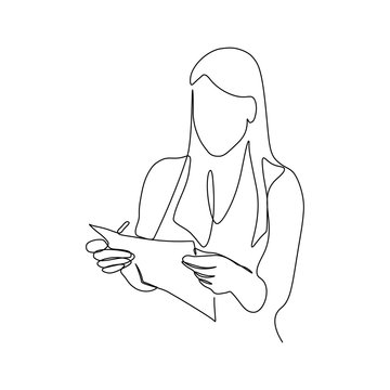 Woman with paper document in hands in continuous line art drawing style. Businesswoman minimalist black linear sketch isolated on white background. Vector illustration
