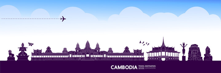 Fotomurales - Cambodia travel destination grand vector illustration.