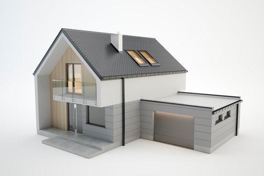 Modern house - 3D model isolated on white, 3D illustration