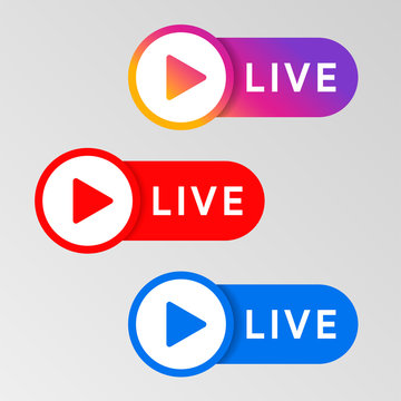 Social media live badge. Instagram, youtube, facebook style banner. Streaming and broadcasting icon. Red. blue and purple color sign set. Vlog airing sticker. Vector illustration.
