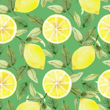 Seamless Floral Pattern. Lemon Fruits Background. Flowers, Leaves