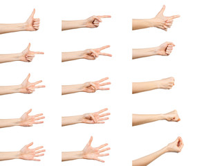 Hand gestures set isolated on white background