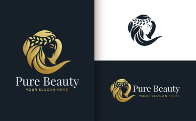 woman hair salon gold gradient logo design Wall mural