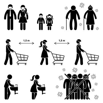 Coronavirus stick figure man, woman, children, kid, grandparent icon sign symbol vector illustration pictogram. Social distance rules in shop, wash hands, avoid crowd, elderly risk set on white