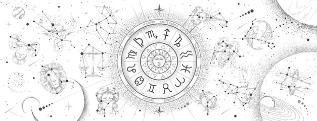 Astrology wheel with zodiac signs on constellation map background. Realistic illustration of  zodiac signs. Horoscope vector illustration Fotomurales