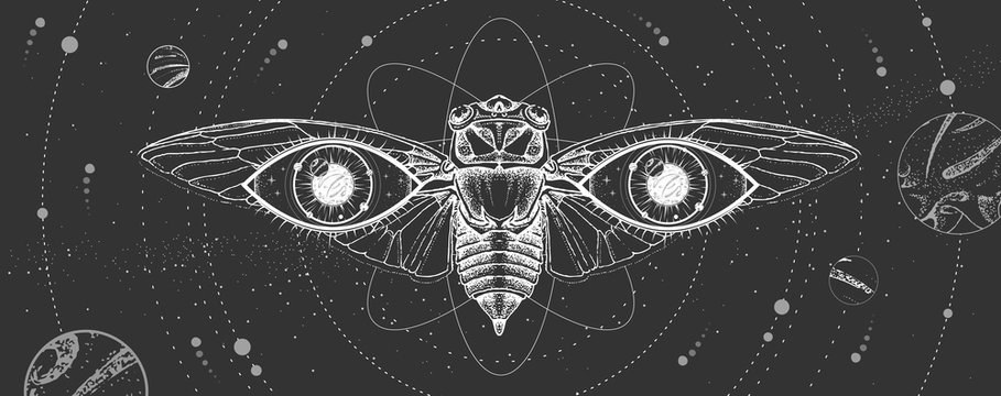 Modern magic witchcraft card with solar system,  cicada and all-seeing eye. Hand drawing occult vector illustration