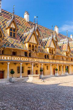 19 September 2019. Courtyard of Hotel Dieu or Hospice de Beaune, in Burgundy region, France..