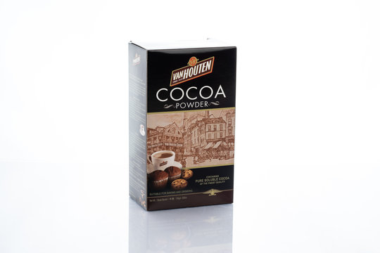 kuala lumpur, malaysia - 20 april 2020. van houten branded cocoa powder isolated in white background