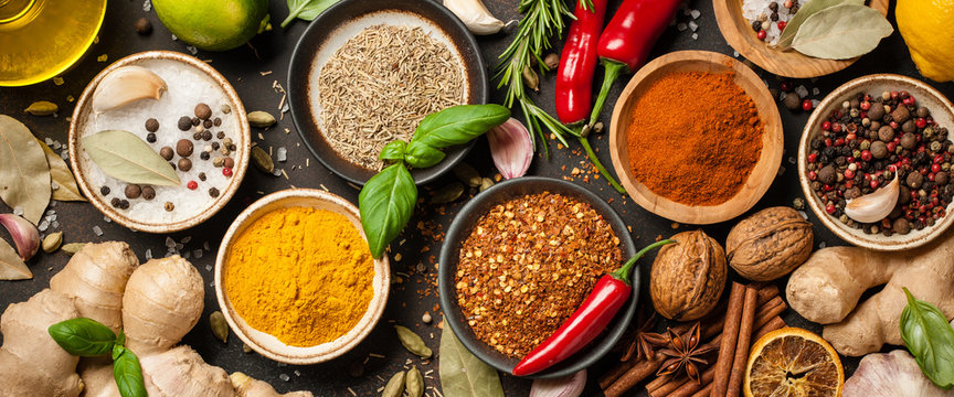Various spices and herbs for cooking