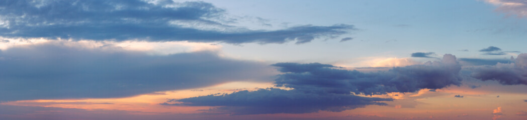 Wall Mural - Evening sky with clouds panorama background