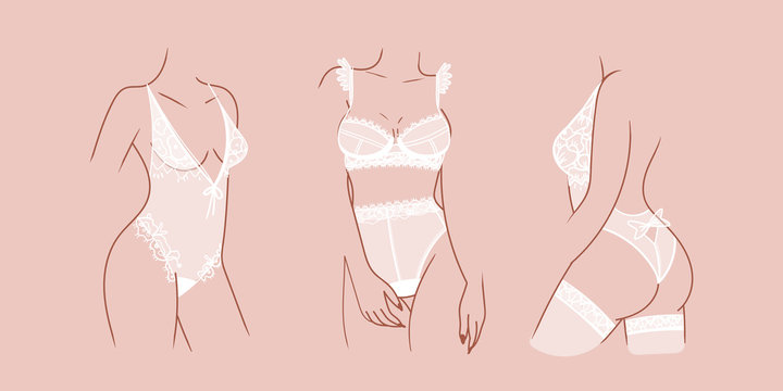 Set of Elegant attractive female body silhouettes. Ladies wearing Sexy white Lace Lingerie. Hand drawn trendy Vector fashion isolated illustrations. Unique style. Modern design