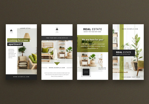 Social Media Post Layout Stories with Green Accent