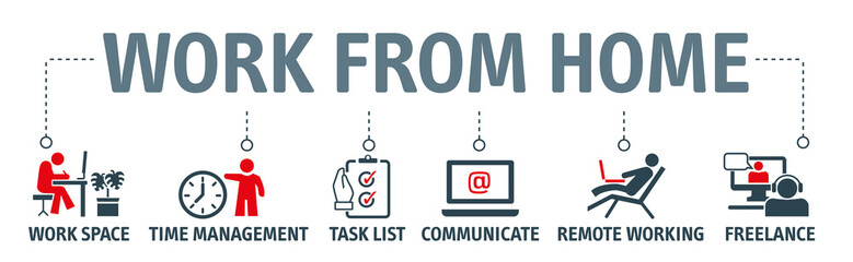 Working from home - banner with icons Fotobehang