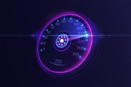 Neon car speedometer. Vector illustration.