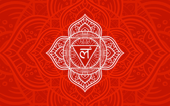 Muladhara, root chakra symbol. Colorful mandala. Vector illustration