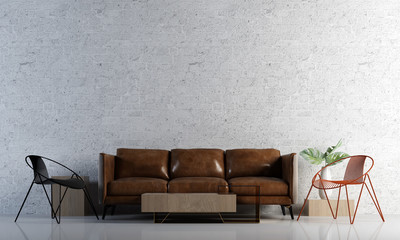 The living room interior design and brick wall texture background