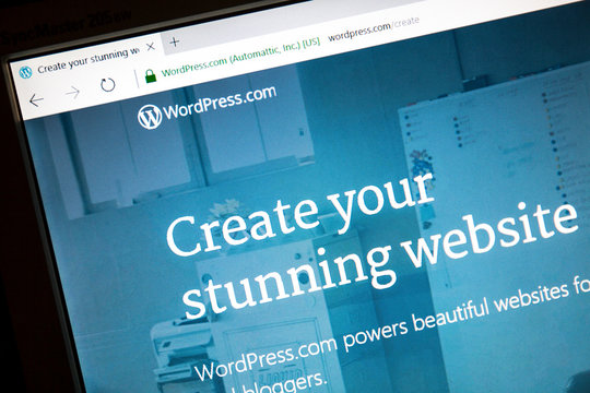 Ostersund, Sweden - June 23, 2016: WordPress website on a computer screen. WordPress is a free and open-source content management system (CMS) based on PHP and MySQL