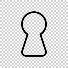Key hole of door or lock, outline design. Black symbol on transparent background