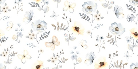 Fototapeten Künstlich Floral abstract seamless pattern with blossom branches flowers and flying butterflies blue, indigo, yellow and brown colors. Vector illustration garden in vintage style on white background.