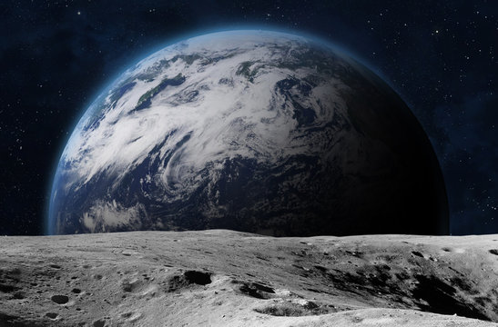The Earth from moon surface.