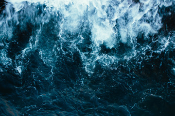 Rough stormy blue ocean waves