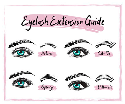 Hand drawn female sexy makeup look with perfect eyebrow shapes and extra full eyelashes