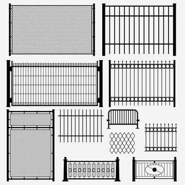 metal set black color fence