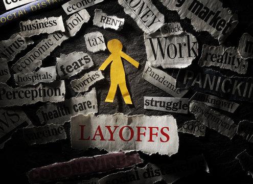 Employee and  Layoffs headline, surrounded by Coronavirus and economic news