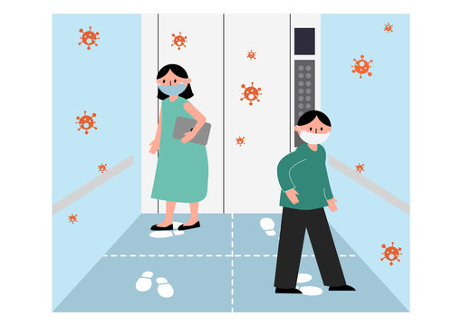 Social distancing concept. Man and woman in elevator standing on footprint sign to avoid spreading COVID-19 coronavirus crisis. Flat design