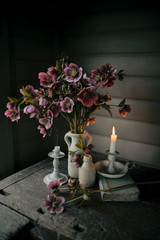 Still life with flowers and candles