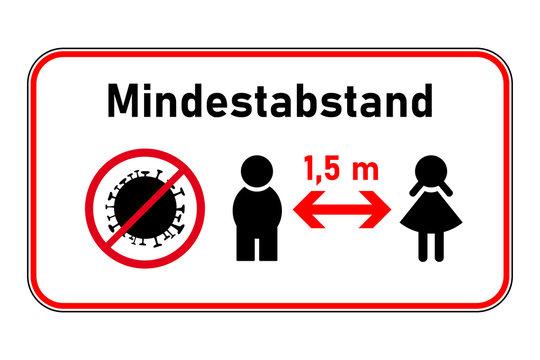Mindestabstand 1,5 m - Schild mit Junge, Mädchen und Corona-Virus-Symbol