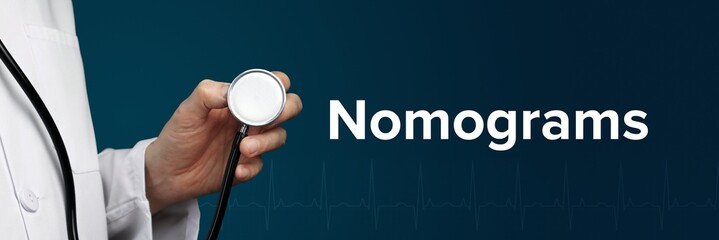 Nomograms. Doctor in smock holds stethoscope. The word Nomograms is next to it. Symbol of medicine, illness, health