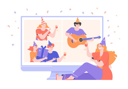 Online internet party. Birthday celebration in quarantine mode. Friends live in different countries and cities, have fun in a video conference. They play the guitar, drink drinks, show gifts. Vector.