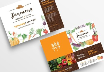 Farmer's Market Flyer Layout with Watercolor Vegetables