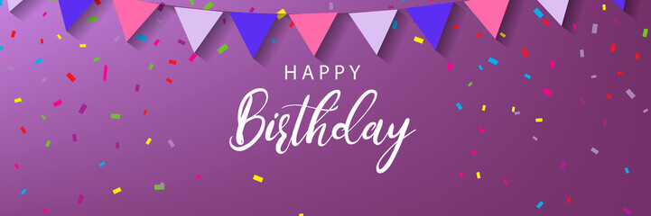 Happy Birthday horizontal banner on a purple background. Vector illustration. Fotomurales