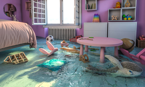 home interior, bedroom with flooded toys