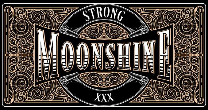 Moonshine vintage decorative ornate label design