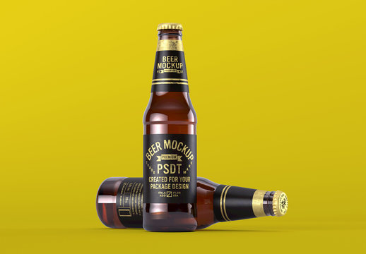 Two Beer Bottles and Bottle Cap Mockup for Product Packaging