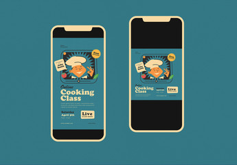Online Cooking Class Social Media Post Layout Set