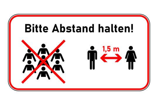 Keine Menschenversammlung - Bitte Abstand halten - Schild rot Warnhinweis