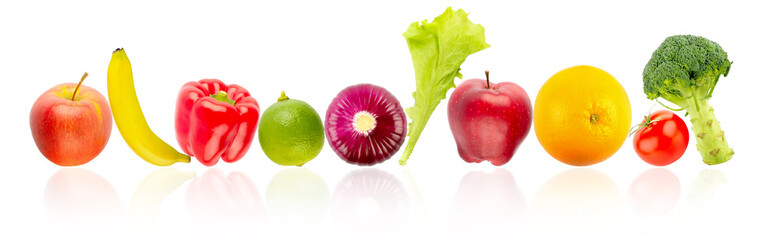 Wall Mural - Fresh and ripe fruits and vegetables in row with reflection isolated on white