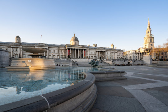LONDON, UK - 23 MARCH 2020: Empty streets at the National Gallery Trafalgar Square, London City Centre during COVID-19, lockdown during coronavirus