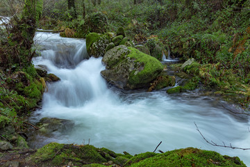 Keuken foto achterwand Bos rivier Forest path that runs parallel to the river da Fraga, in the town of Moaña, Galicia, Spain.