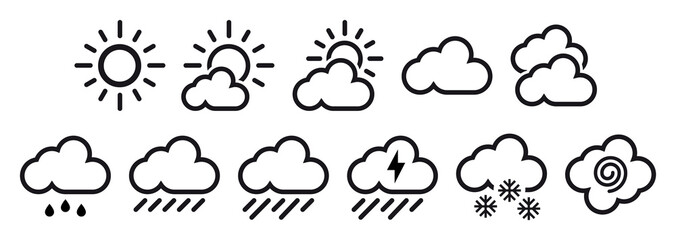 minimal simple weather reports icons Wall mural