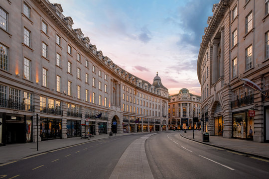 LONDON, UK - 30 MARCH 2020: Empty streets in Regents Street, London City Centre during COVID-19, lockdown during coronavirus